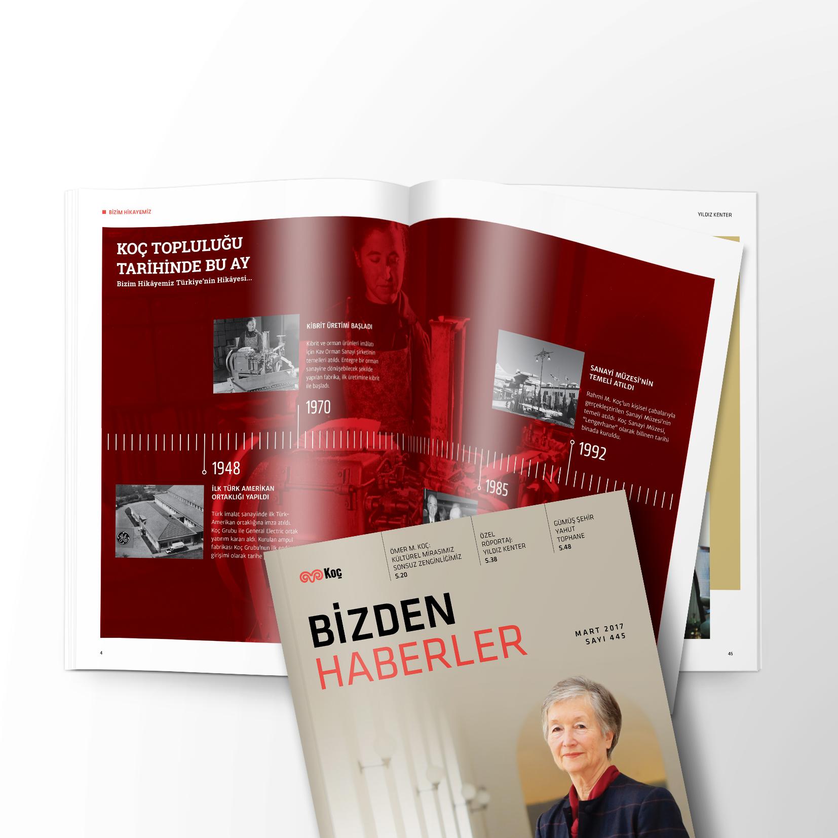 Koç Grubu'nun Kurumsal Dergisi Bizden Haberler Lom Creative tarafından tasarlanıyor.
